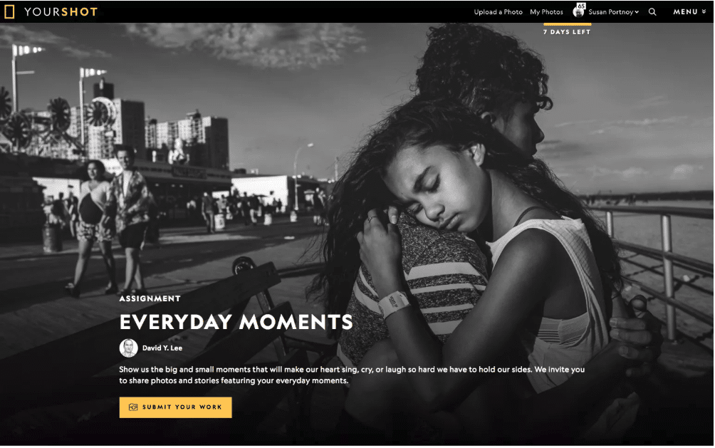 Photo: Susan Portnoy - On the cover of Nat Geo's Your Shot Homepage
