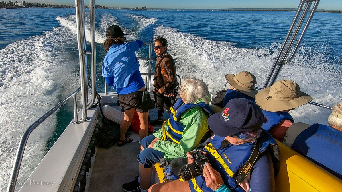 Passengers aboard a tour boat in the Bay of La Paz