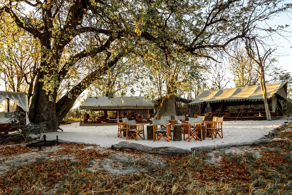 The main communal luxury tent at Selinda Explorers camp during my Botswana Safari