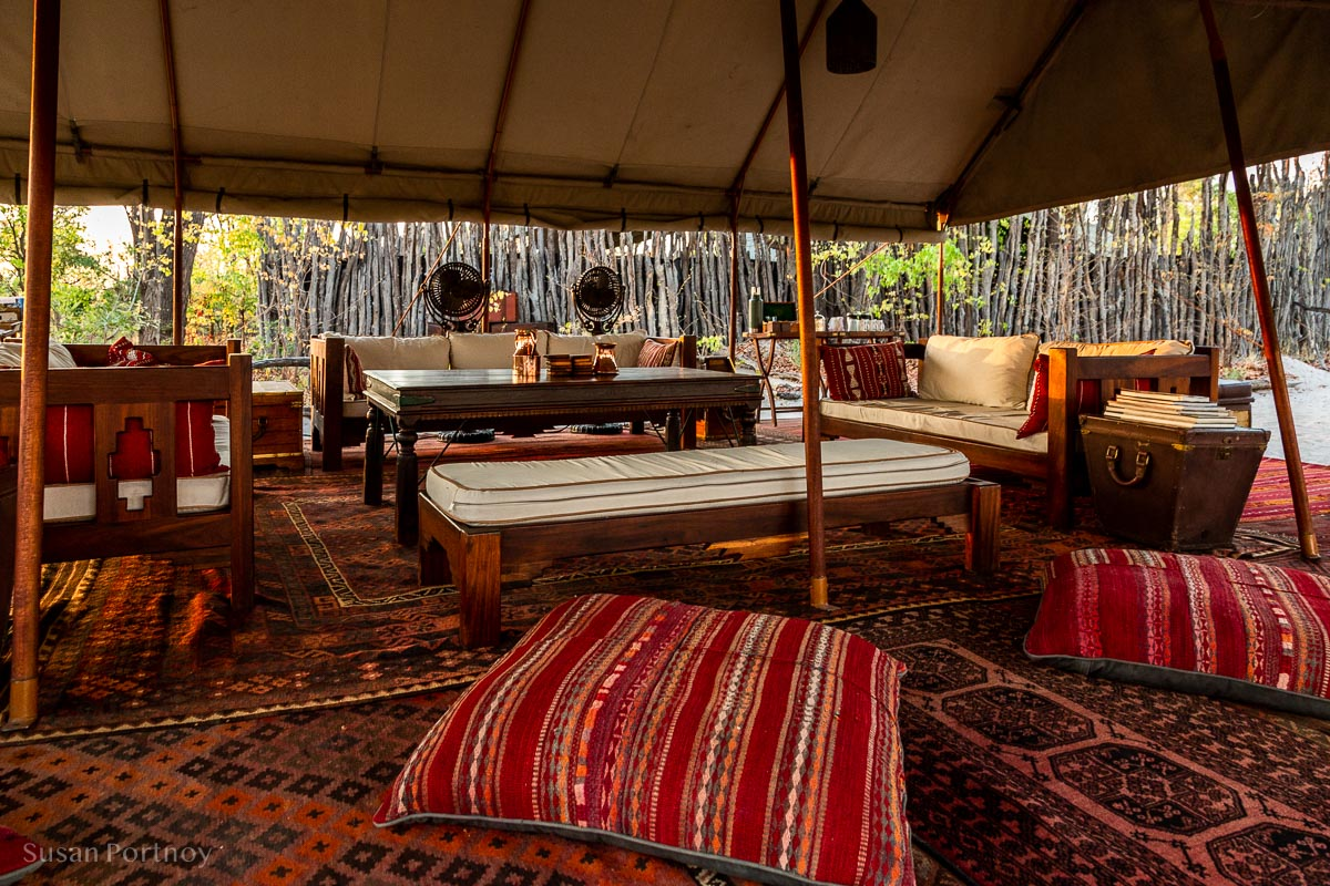 One of the Lounges at Selinda Explorers camp during my Botswana Safari
