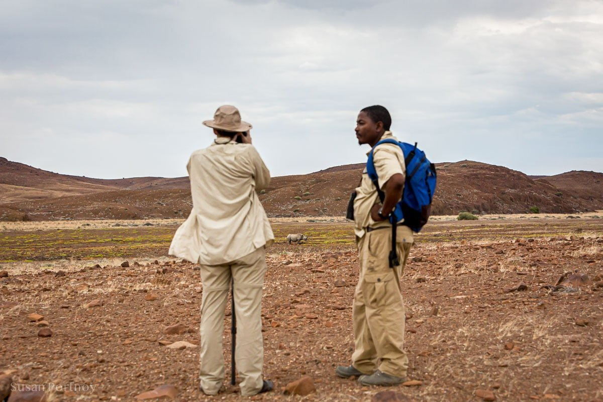Me photographing Kangombe and Bons my guide from Desert Rhino Camp.
