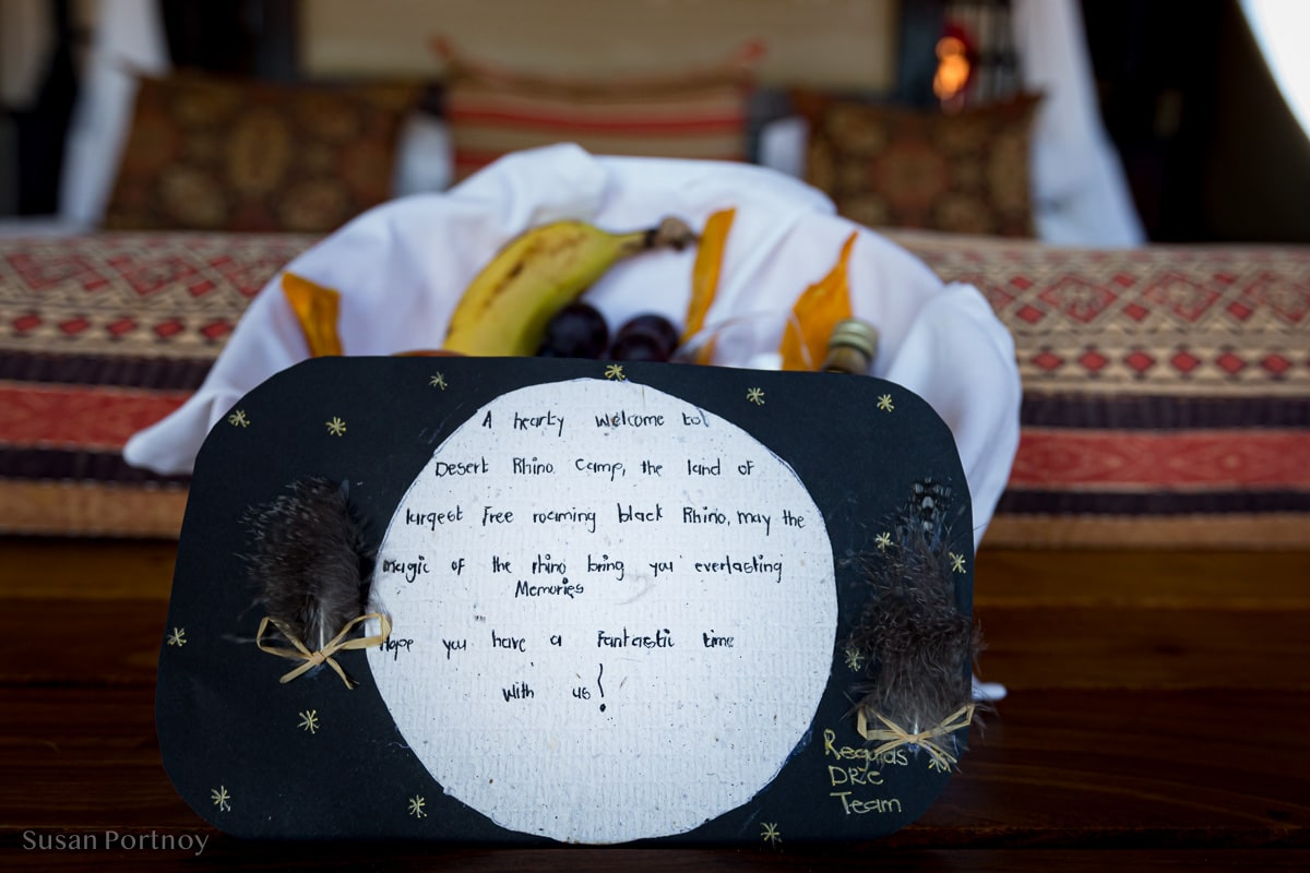 A welcome note from the Desert Rhino Camp manager