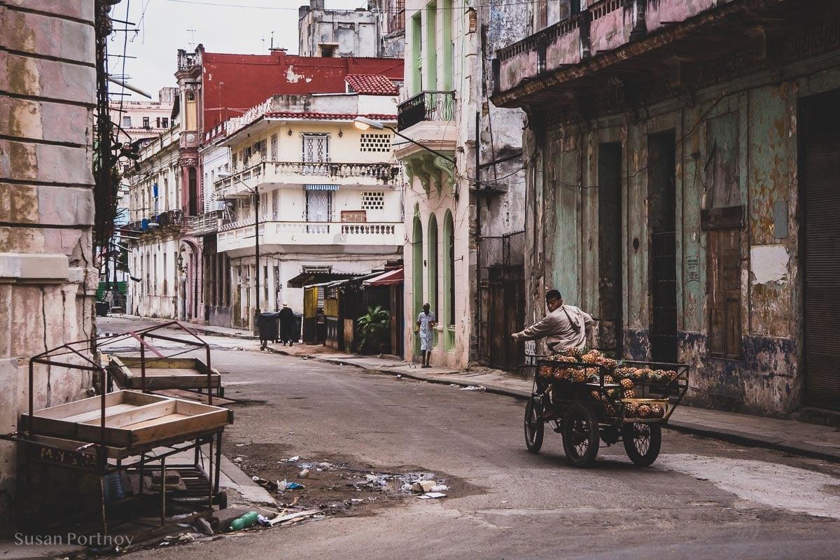 Man selling pinapples in Central Havana, Cuba