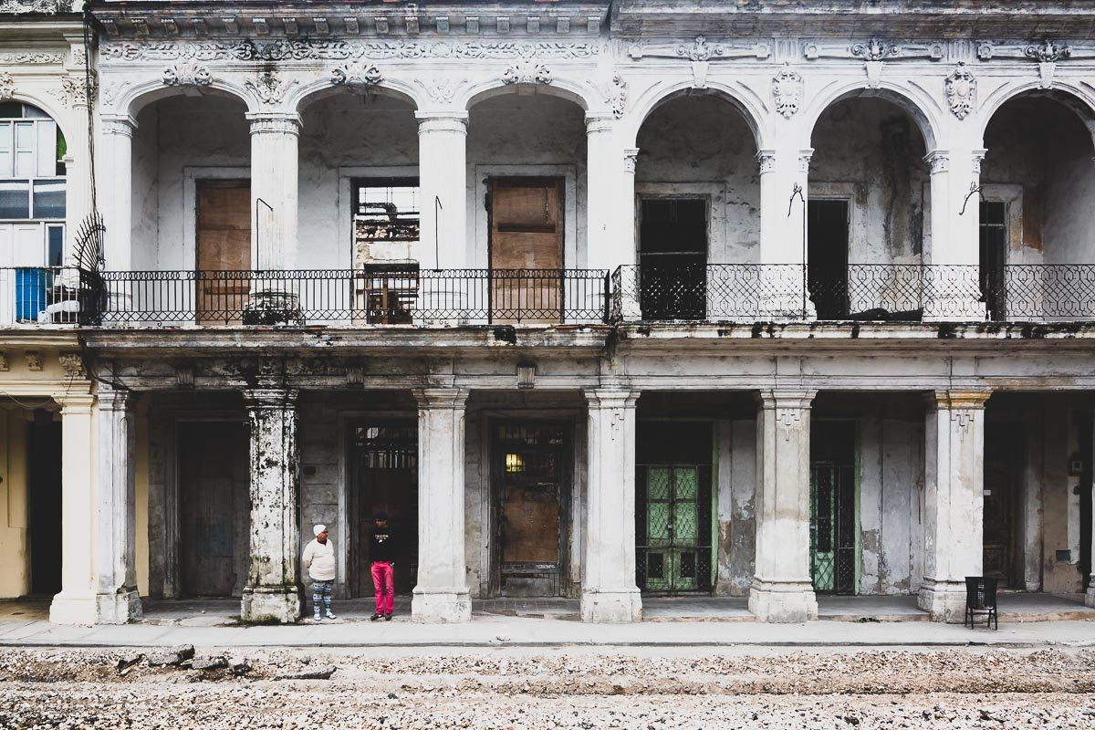 The remnants of an old beautiful building in Havana