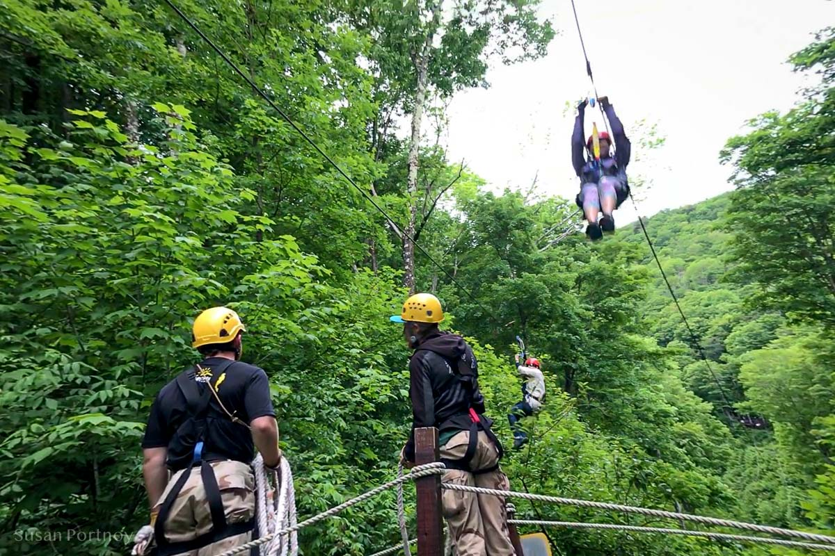 Me ( on the left) on the zipline at Hunter Mountain