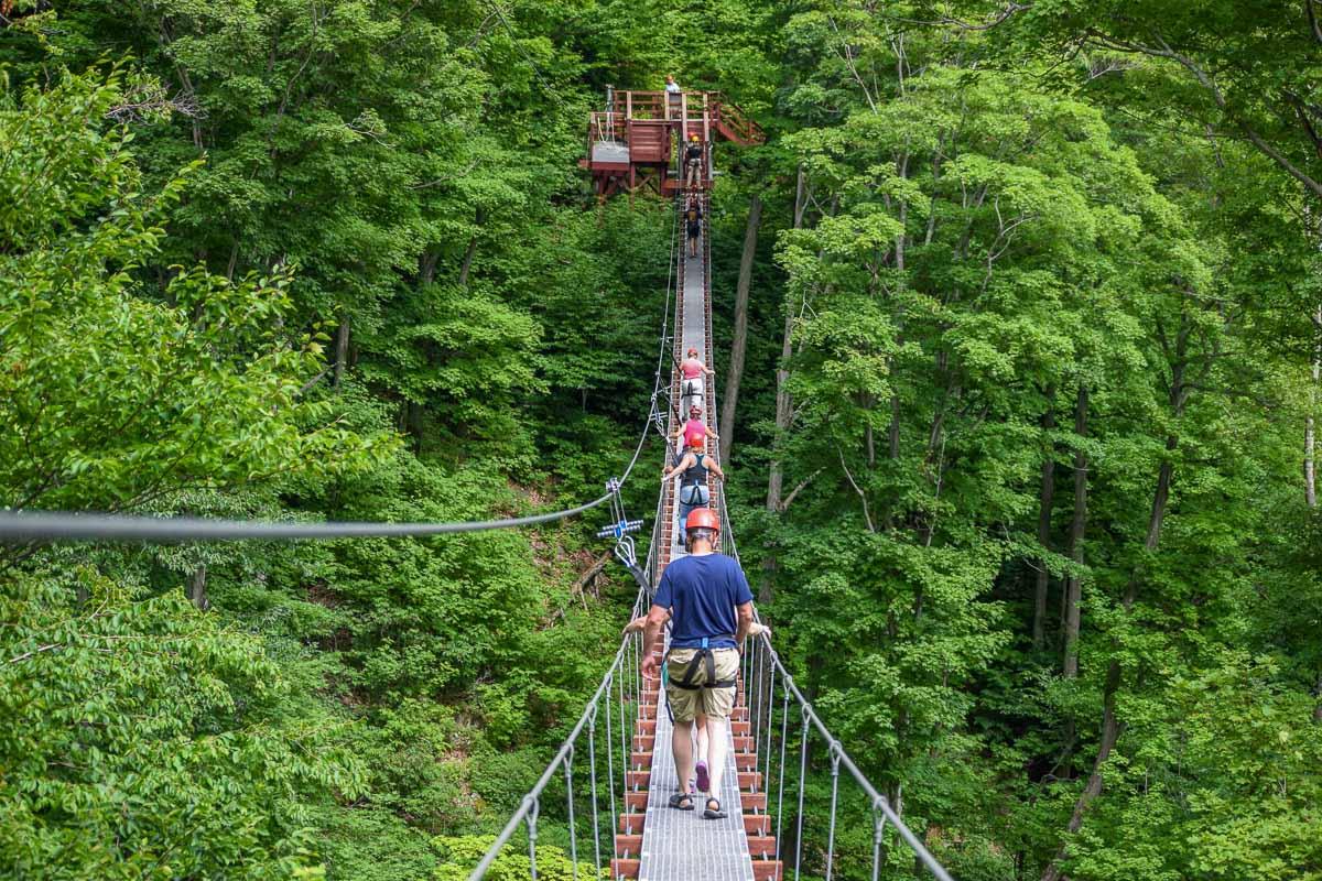 Walking the Burma bridge on Hunter Mountain