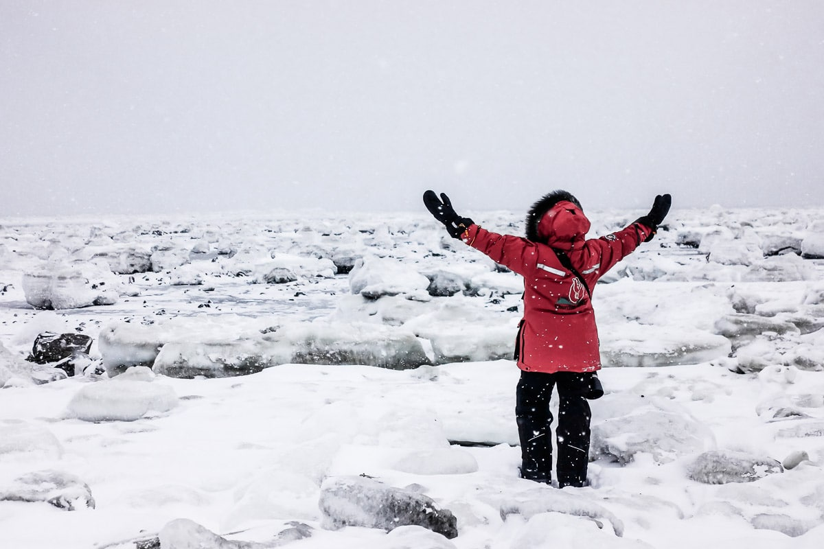Susan Portnoy in Manitoba on the snow and ice