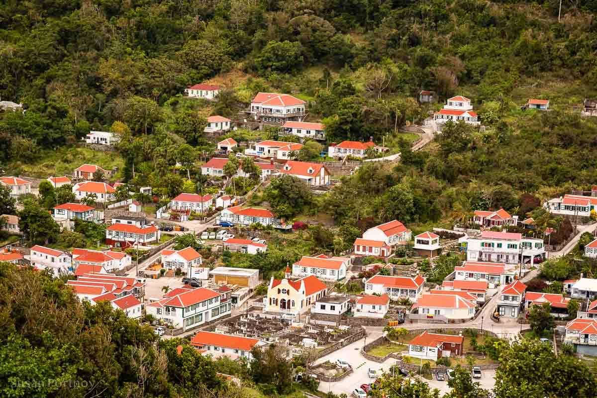 A view of the small village of Windwardside from the homes on Booby Hill