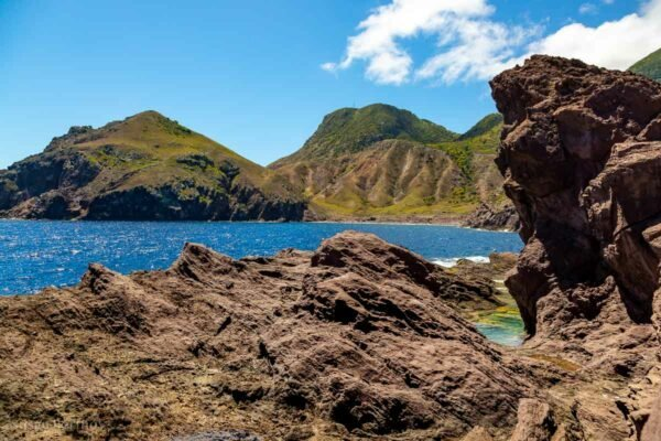 View from the lava flows on Saba Island