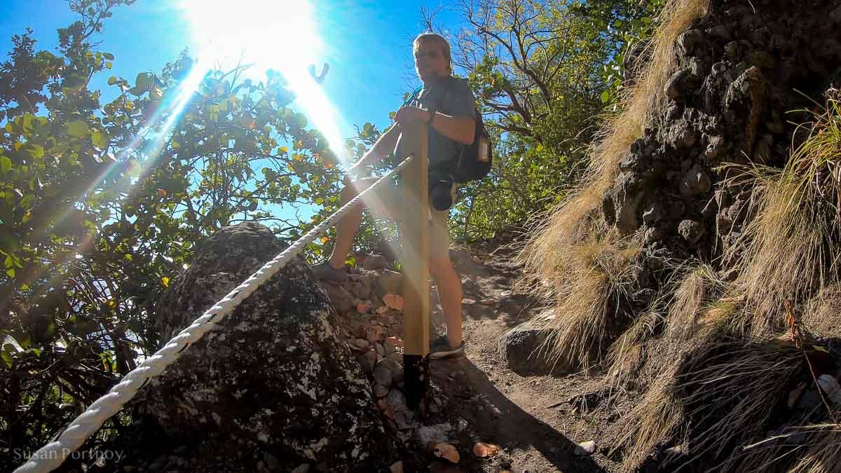 Kai Wulf climbing the Mary's Point trail