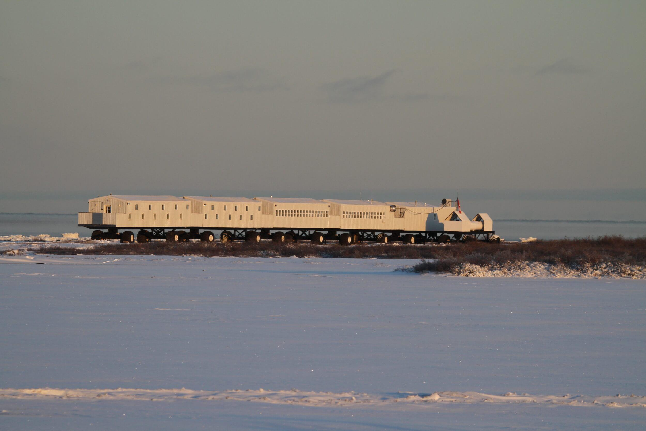 Nat Hab Adventure's Tundra Lodge parked in the Manitoban tundra