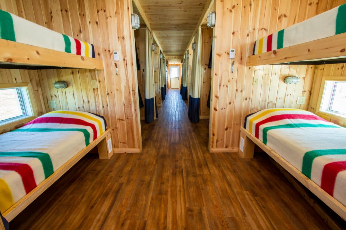 Berths inside Frontiers-North-Adventures' Tundra Buggy Lodge. It enables guests to stay in the middle of the tundra, which is the best place to see polar bears.