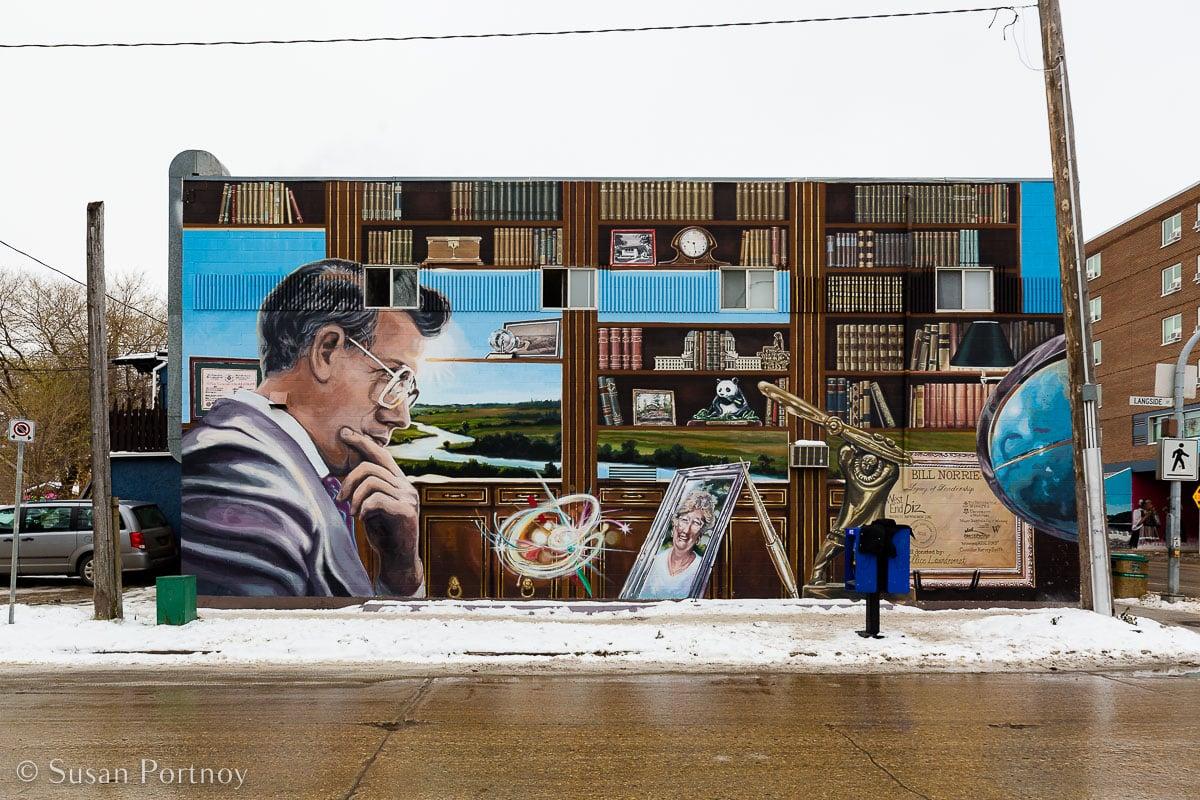 A mural to honor former Winnipeg Mayor Bill Norrie at the corner of Ellice Avenue and Langside Street