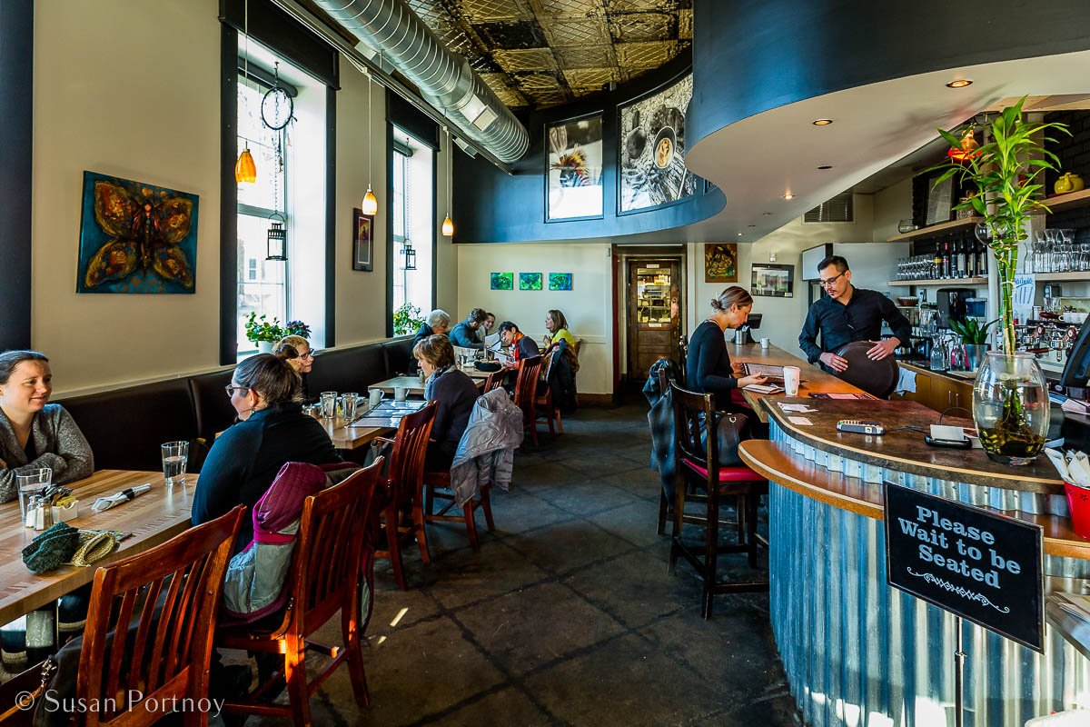 The eclectic interior of Feast Restaurant