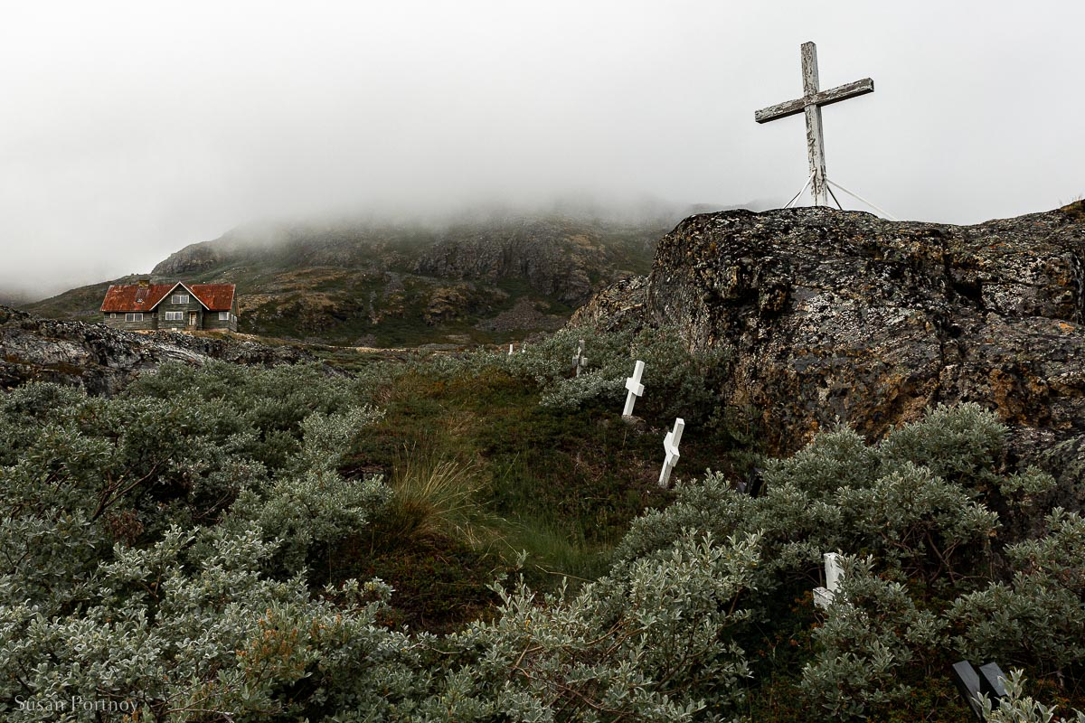 The lonely graveyard at the abandoned Ivittuut mine