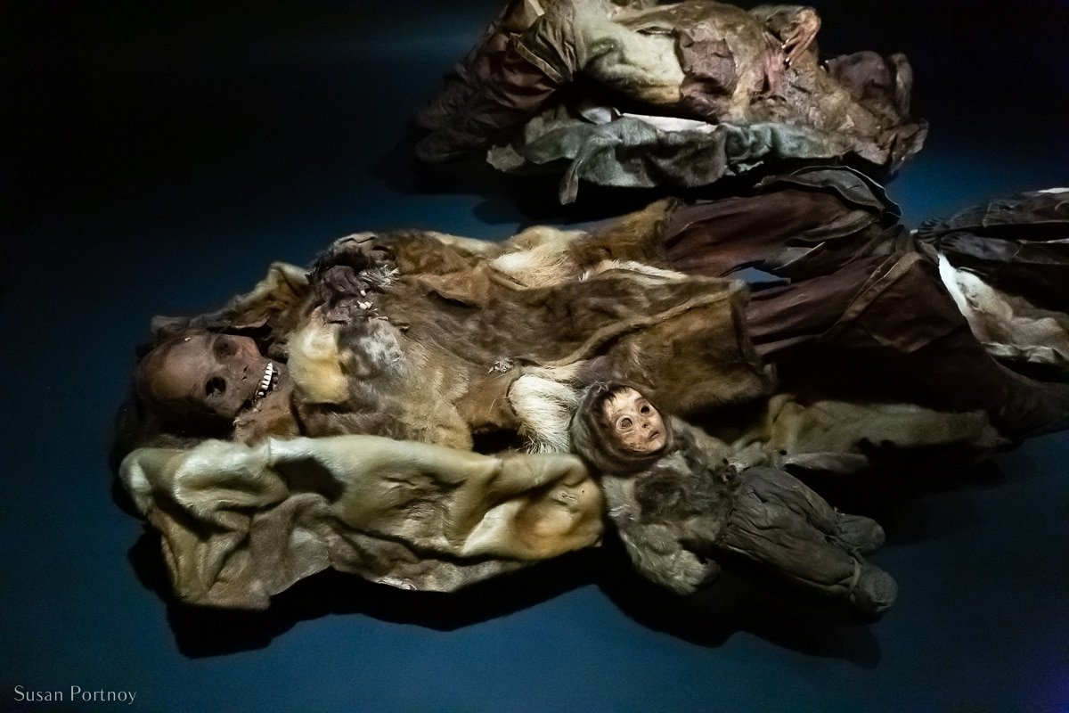 """Two of the """"Greenland Mummies"""" at the Greenland National Museum"""