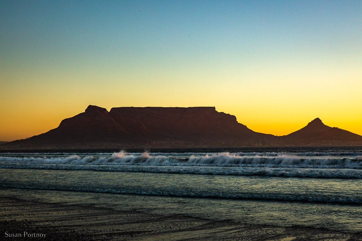 Table Mountain in South Africa at Sunset