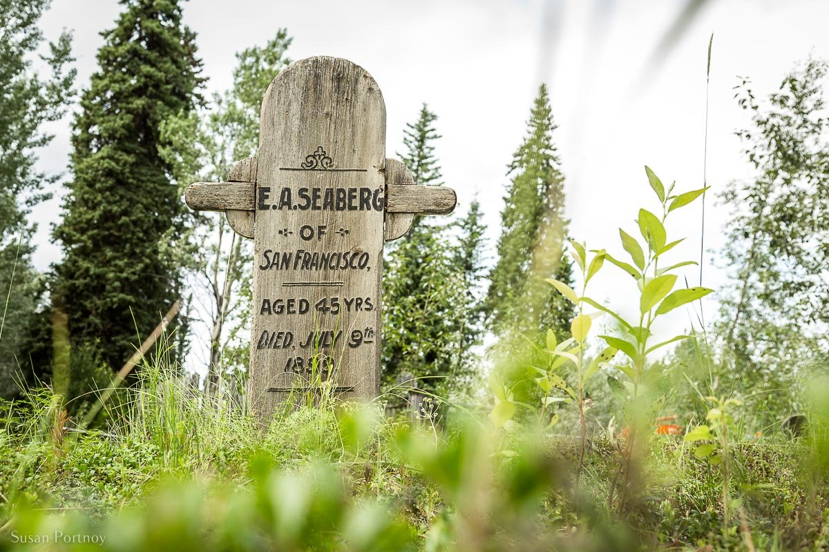 Headstone in one of the historic graveyards in Dawson City