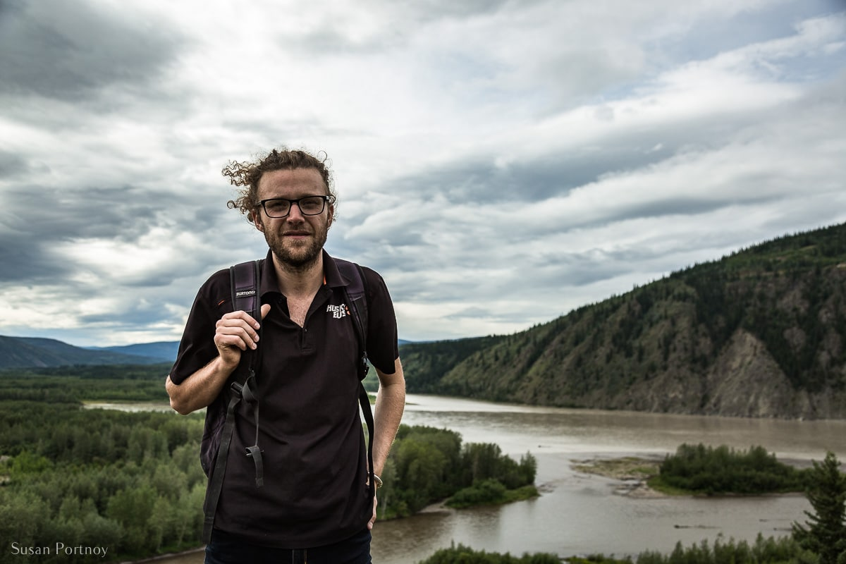 Mattias Macaphee, a guide at the convergence of the Yukon and Klondike Rivers