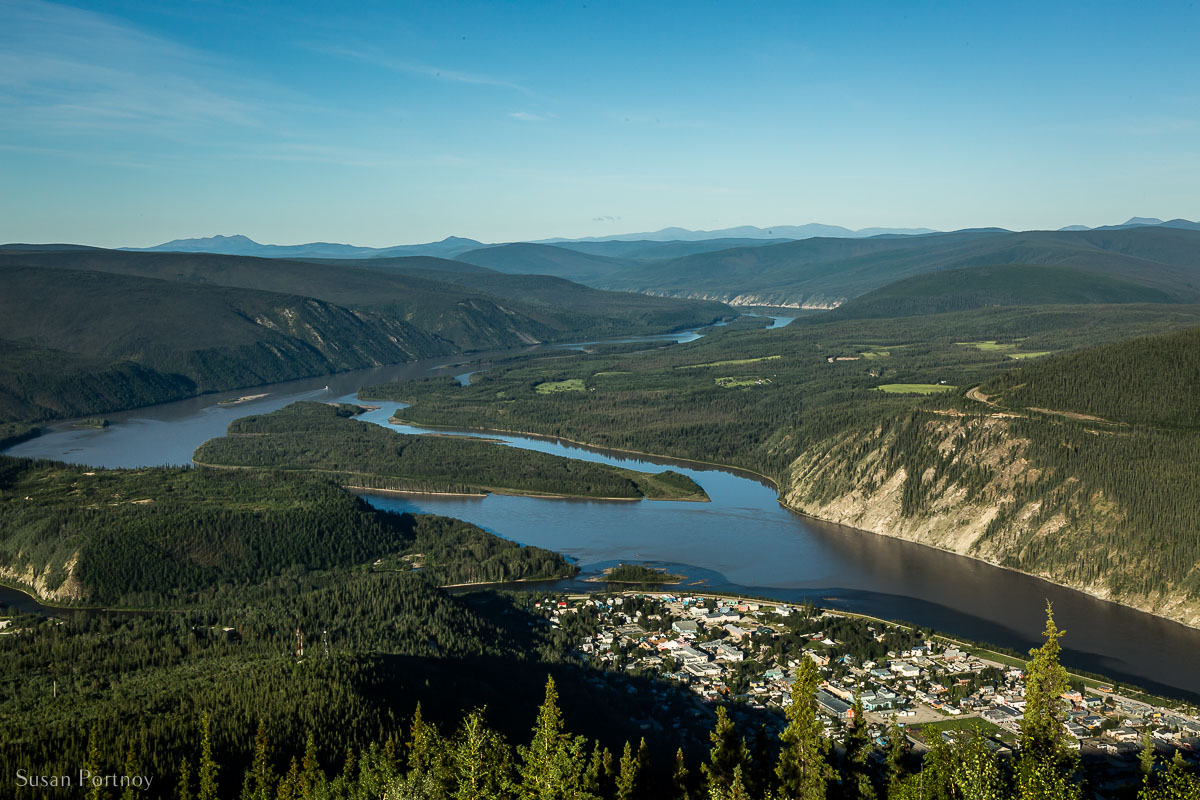 A view of Dawson City from a mountain behind the town. The scenic spot is called The Midnight Dome