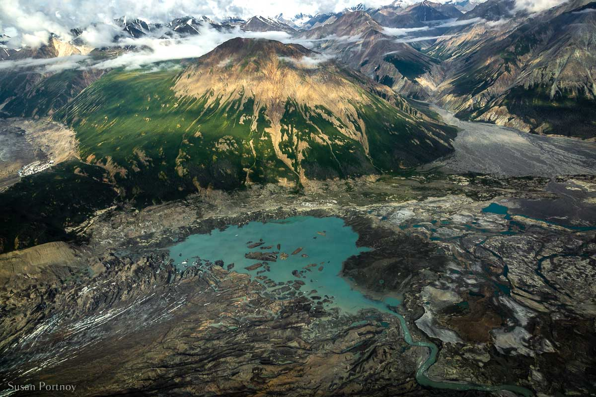 The view from the toe of the Kaskawulsh Glacier looking back down the Slims River Valley.