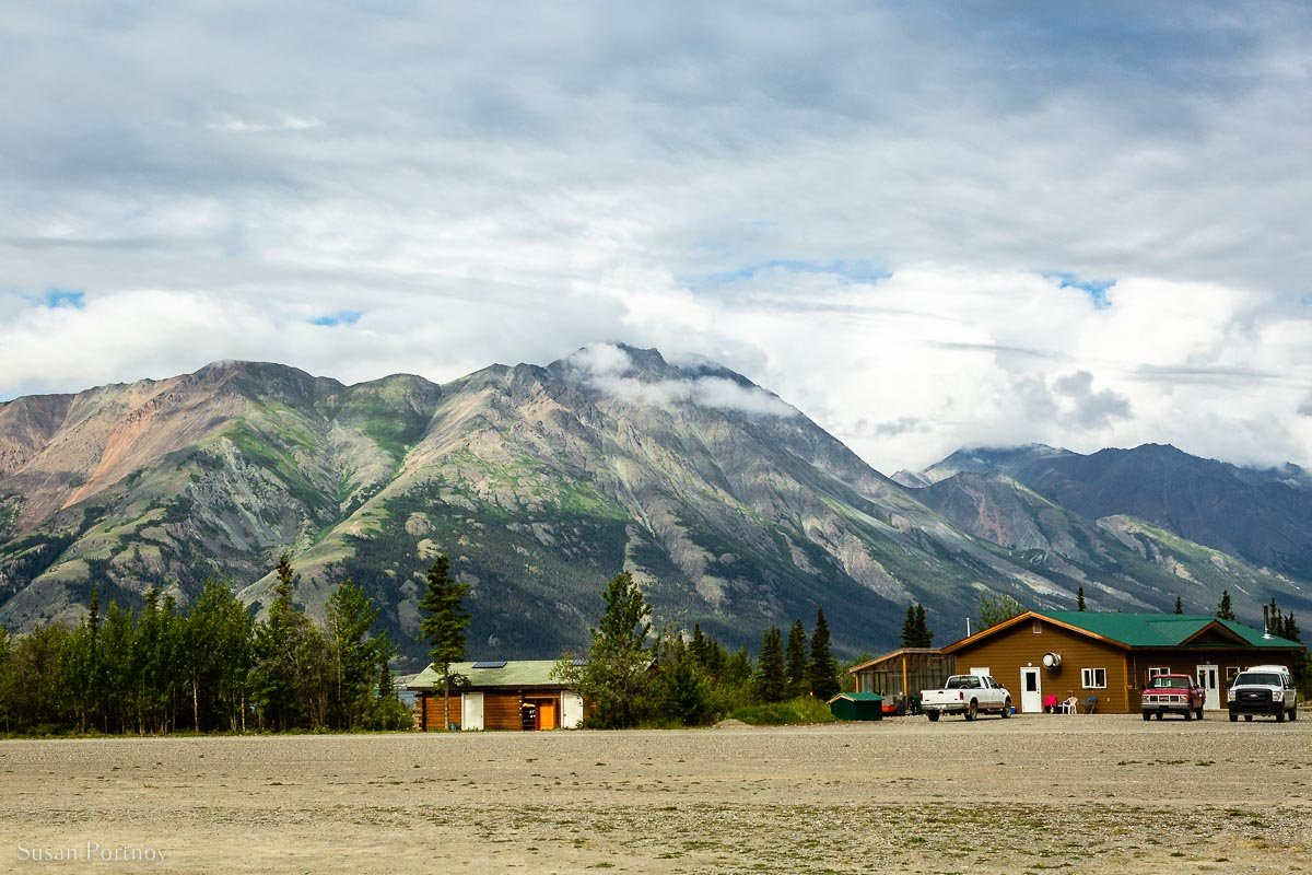 Sheep mountain at the edge of Kluane Lake behind Icefield Discovery Offices