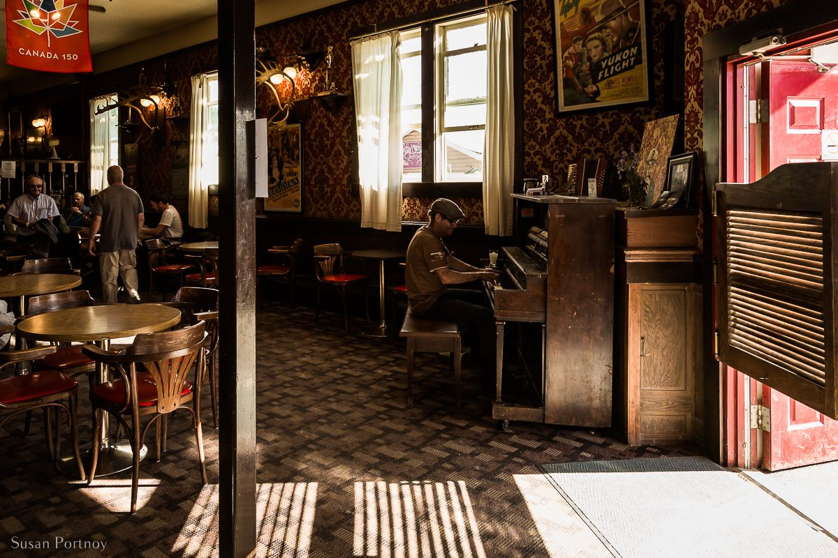 The inside of the Sourdough Saloon attached to the Downtown Hotel in Dawson City