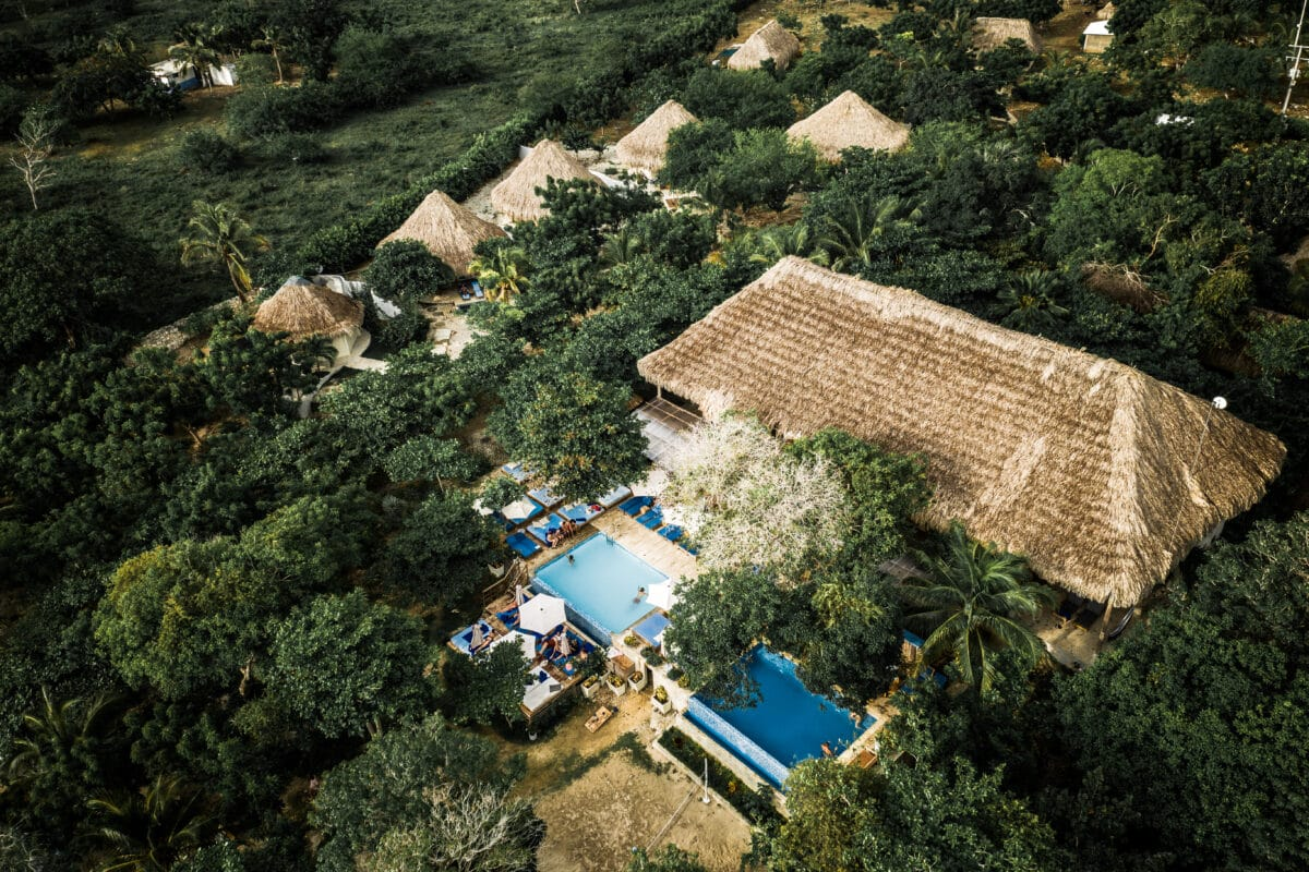 Aerial view of Blue Apple Beach House in Colombia