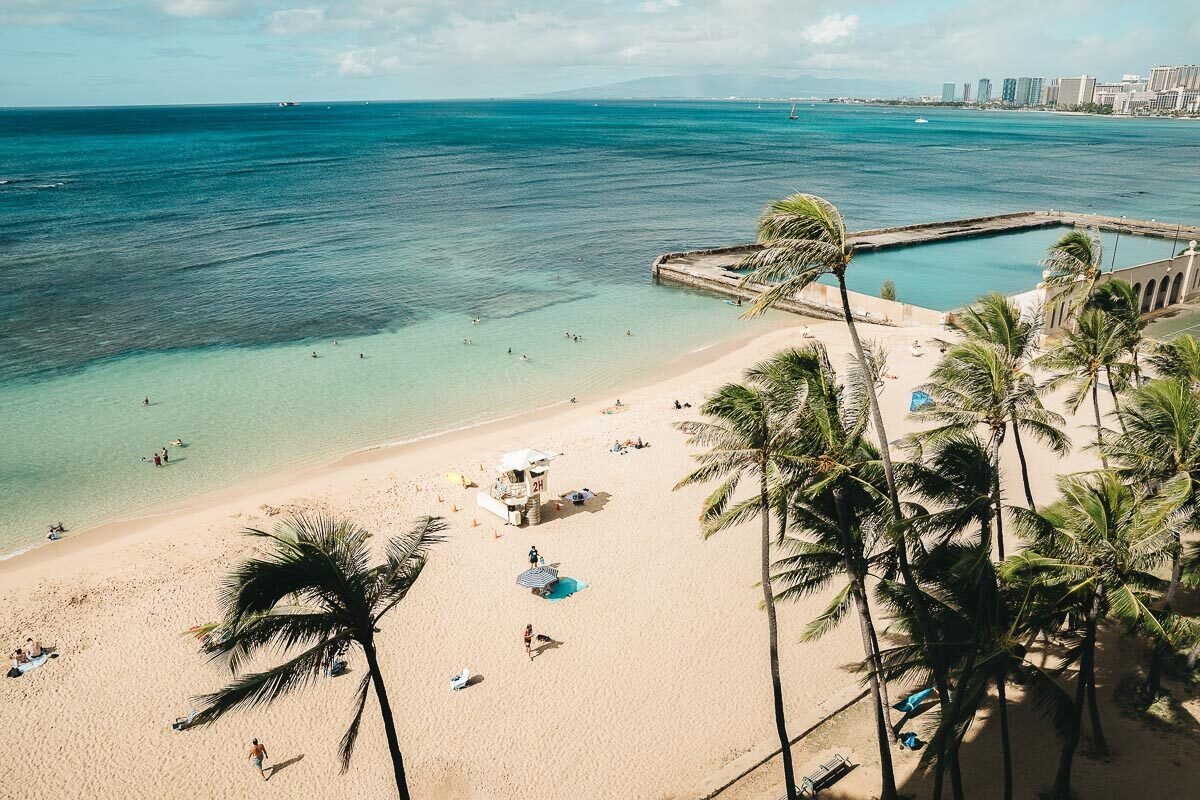 Beach view from the Kaimana Beach Hotel in Hawaii, one of 7 places to stay in Hawaii