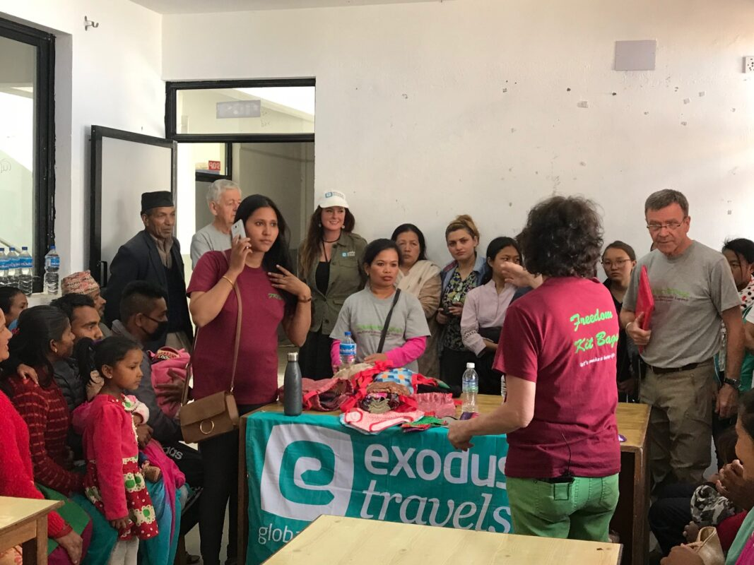 Women in Nepal receiving Exodus Travels' Freedom Kit Bags