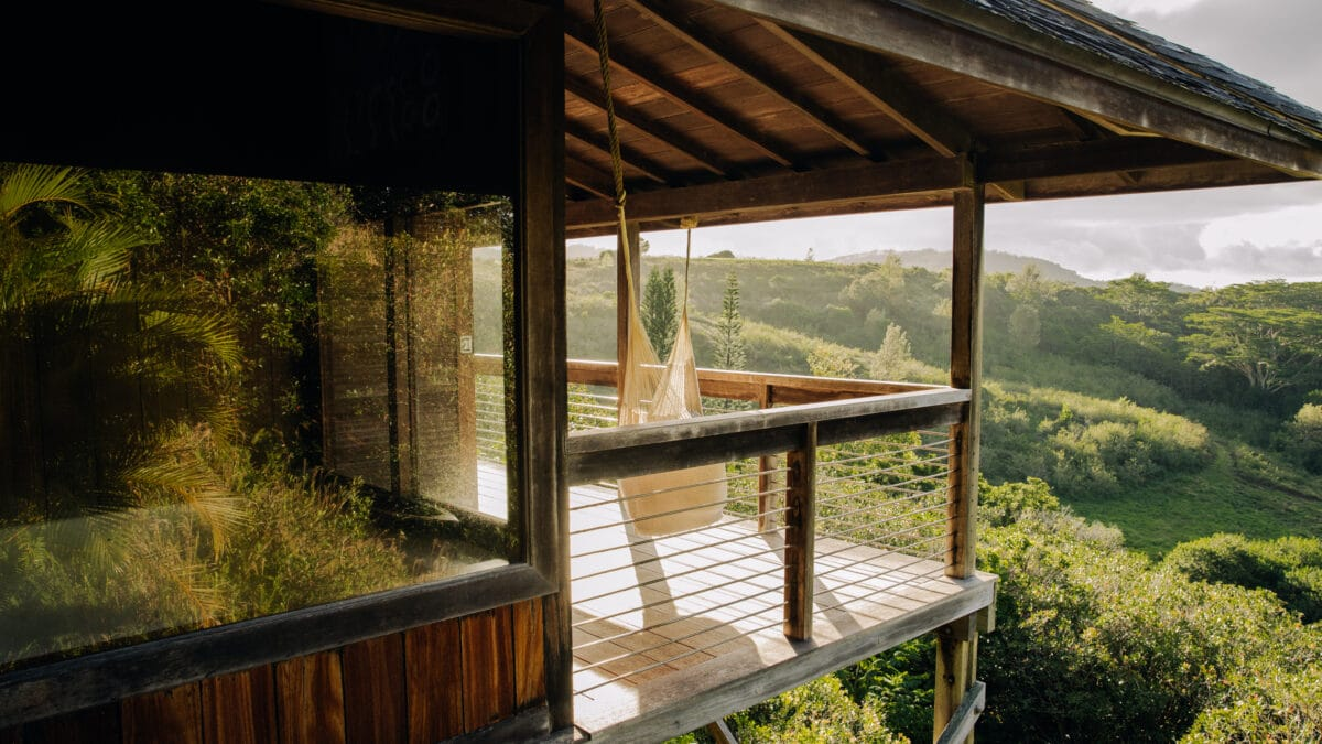 View of one of the balconies with a hammock at the O' Louina (The Longhouse), Kauai