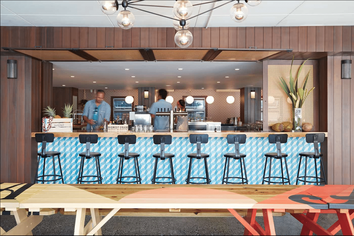 View of the bar at the Surfjack Hotel & Swim Club, Oahu - a very cool place to stay in Hawaii