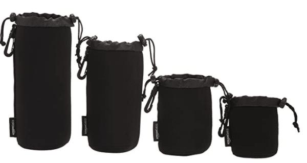 Amazon Basics Water Resistant Neoprene Camera Lens Accessories Protective Case - Set of 4, Black
