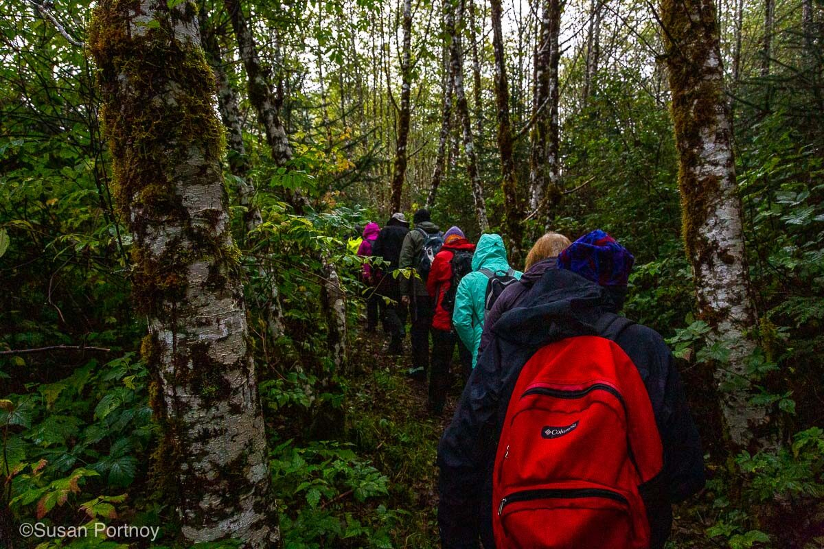 Walking through the forest in British Columbia while it's raining. One of the reasons you need a good packing list