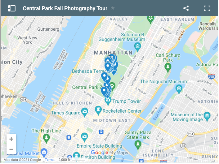 Map of locations in New York's Central Park for the best photos of Autumn colors