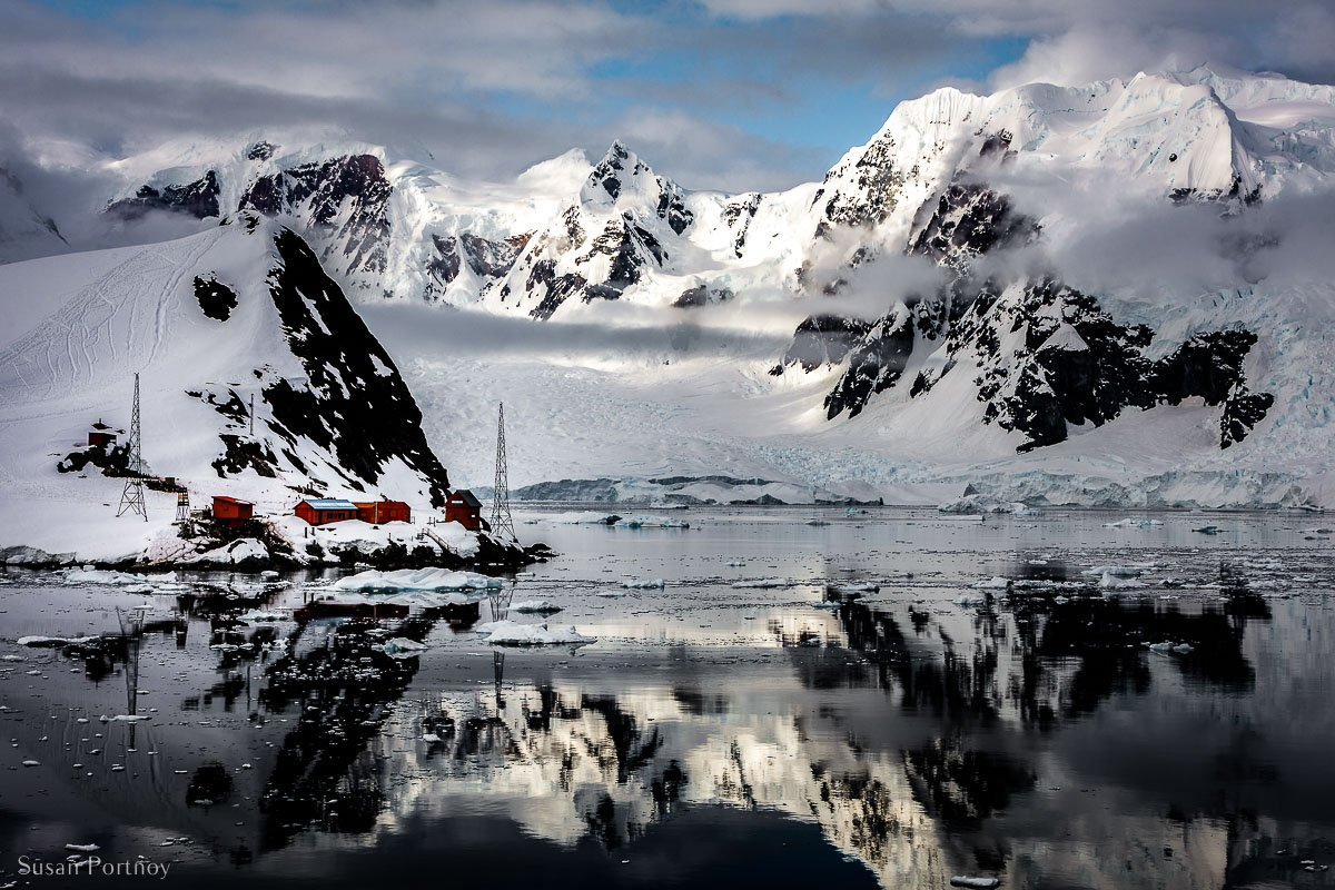 View of Brown Station in a cove of Paradise Harbor, Antarctica
