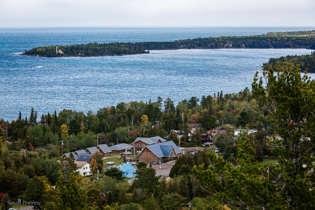View of the town of Copper Harbor from the Brockway Mountain lookout