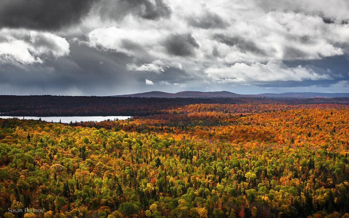 View from an overlook on Brockway Mountain Drive  is one of the best places to see Michigan Fall colors
