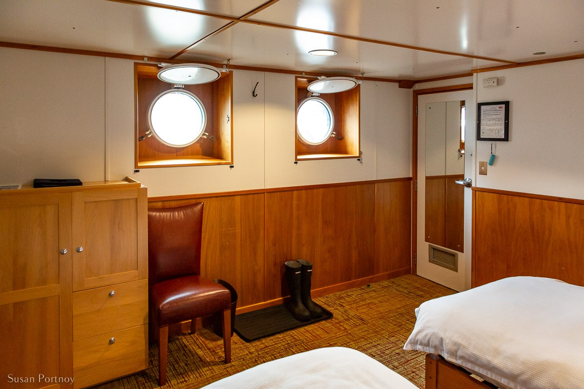 Cabin for Susan Portnoy, the Insatiable Traveler, onboard the ship Cascadia