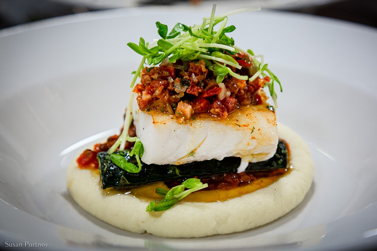 Lingcod with beluga lentil, brocolini, parsnip purée and bacon salsa