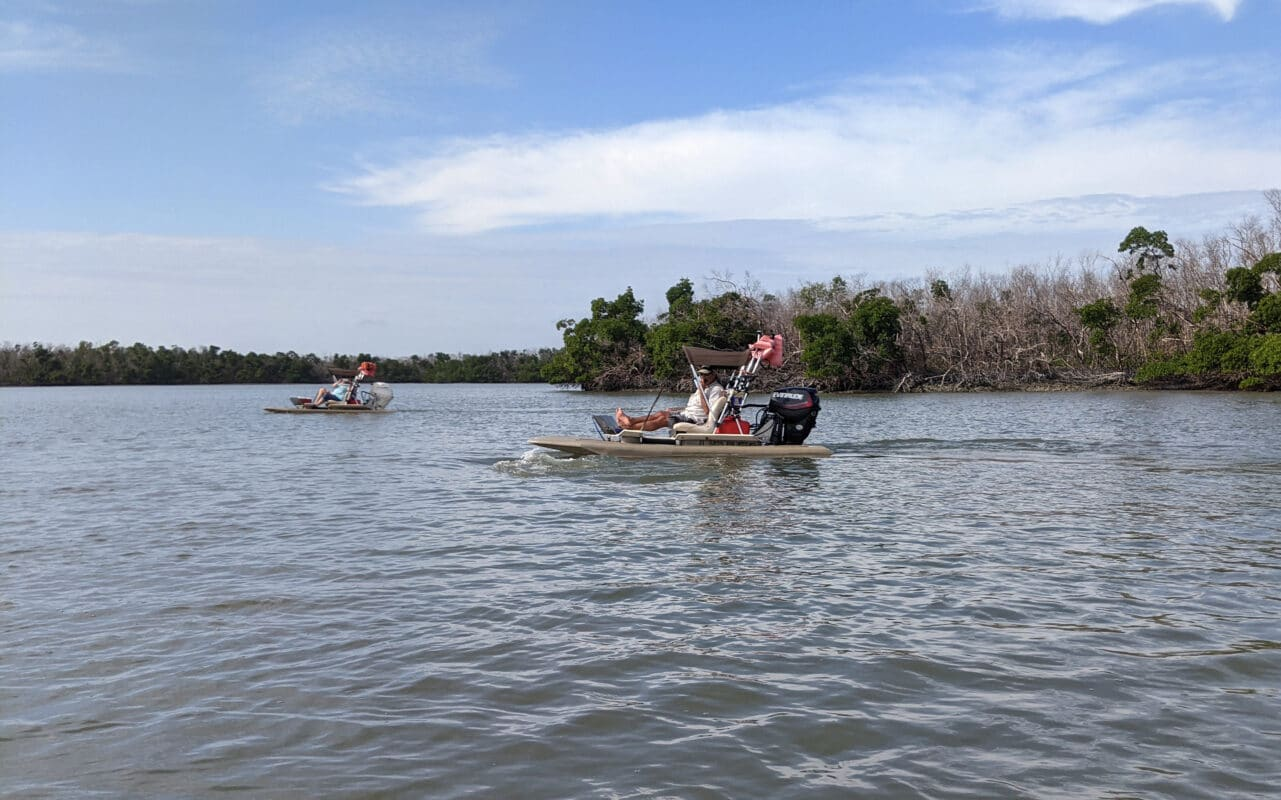 Driving a catamaran in the Ten Thousand Islands, One of eight outdoor adventures in Florida