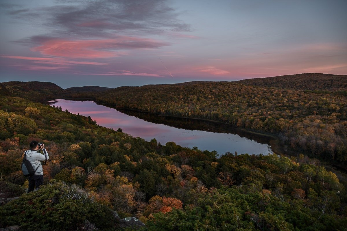 The Lake of the Clouds from the Porcupine Mountains Overlook at Sunset