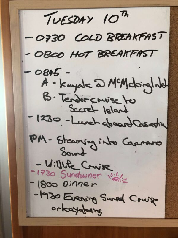 Example of a daily schedule on the Cascadia catamaran