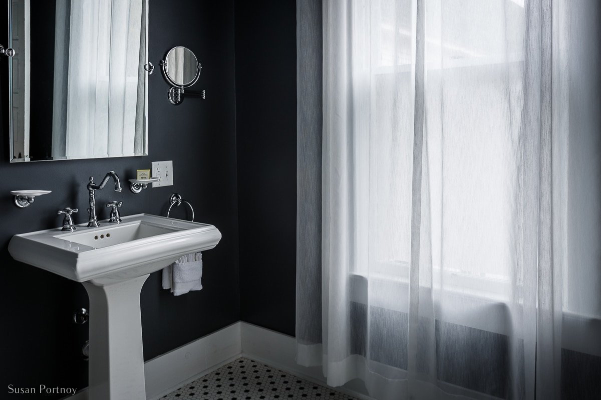 A guest bathroom at Birch Lodge