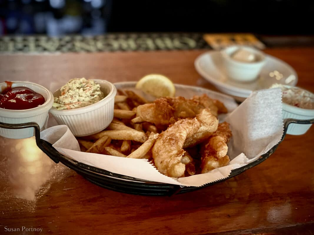 A basket of fish & chips on the bar at City Park Grill in Petoskey