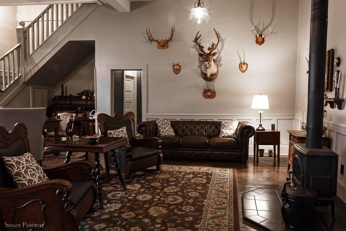 The front lobby at Birch Lodge