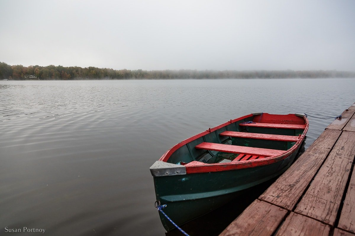 One of the rowboats available to guests at the Birch Lodge in Trout Lake, MI