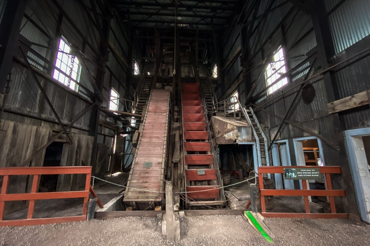 An example of a Man Engine inside the #2 Shaft in the Quincy Mine in Houghton, Mi