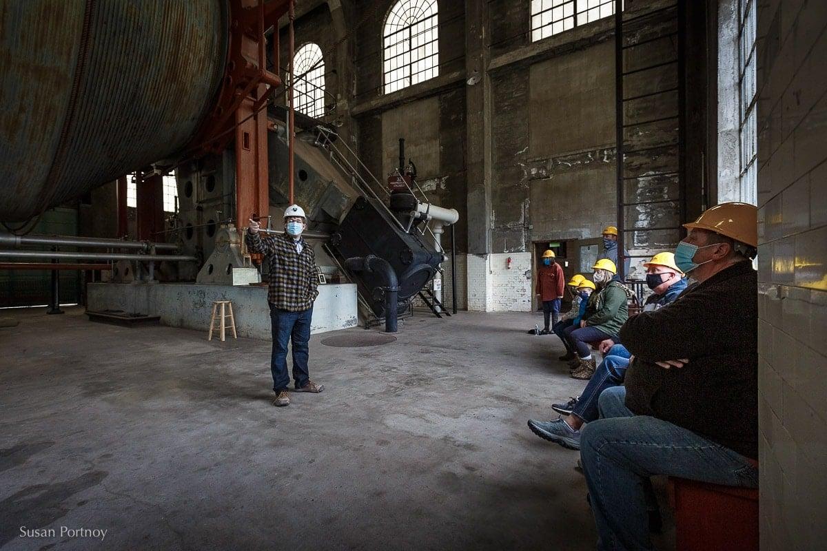 Quincy Mine guide inside the Nordberg Hoist House
