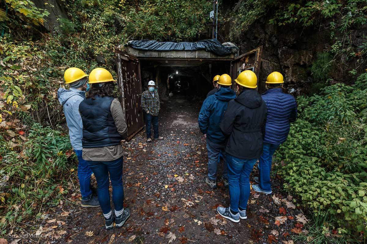 Our guide walking us into the drift mine at Quincy Mine